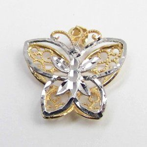 Butterfly 10K yellow & white Gold 3D pendant